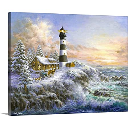 Winter Majesty Canvas Wall Art Print Lighthouse Artwork Posters Prints