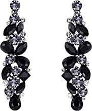 EVER FAITH Bridal Tear Drop Flower Cluster Dangle Earrings Crystal Rhinestone