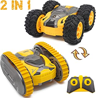 Fistone Remote Control Stunt Car 2.4G 4WD RC Crawler Truck, Track and Wheel Interchange 360 Degree Rotating Climbing Racing Off-Road Vehicle Toys for Boys Kids Age 6 8 10 12 Years Old