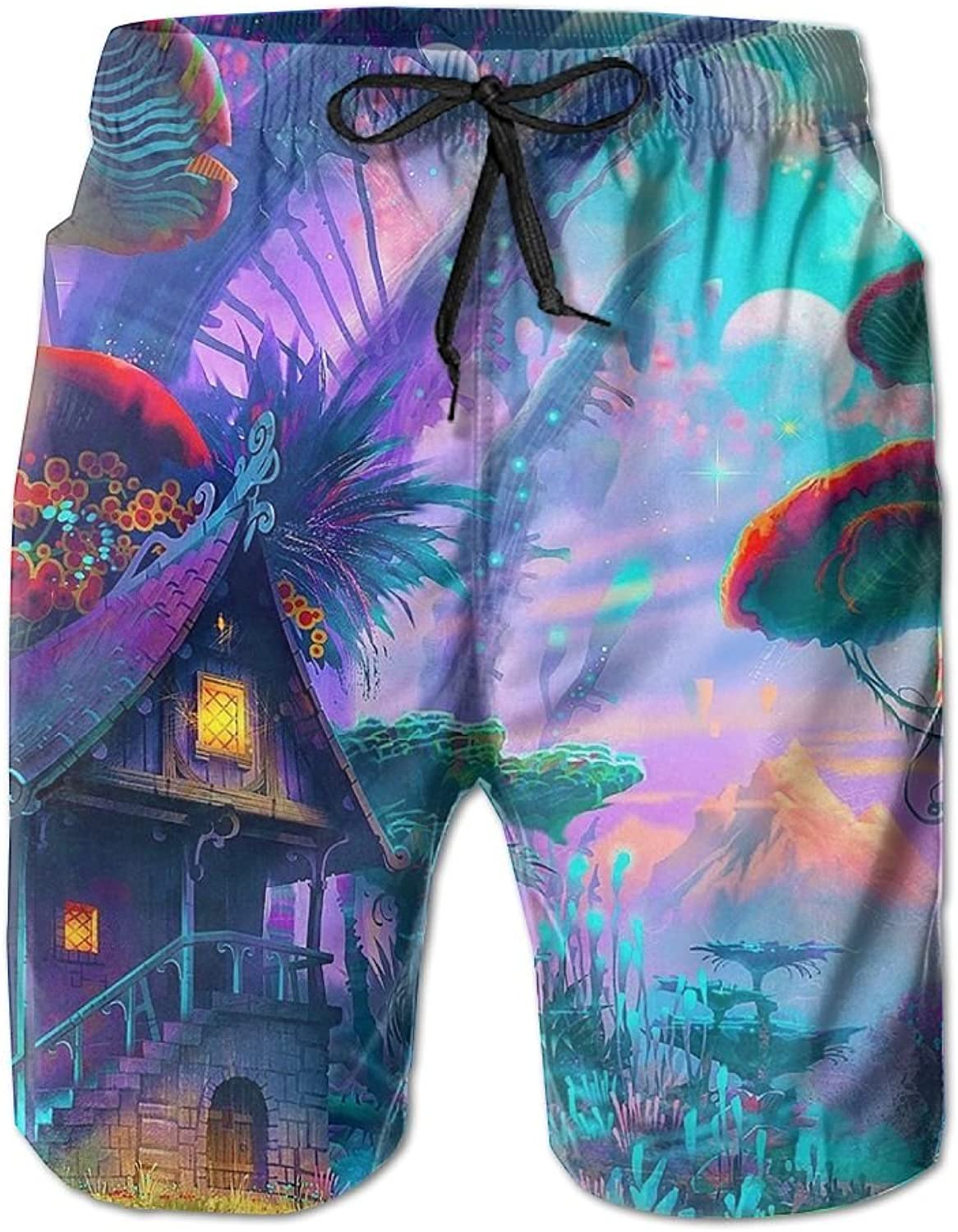 71147b63275af Quick Quick Quick Dry Men's Beach Board Shorts Fantasy House Surfing Swim  Trunks Beachwear With Pockets ca04aa