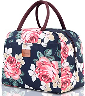Lunch Bags for Women, TianQin WY Insulated Lunch Tote Bag Lunch Box Cooler Bag Lunch Organizer for Working Picnic Beach Sporting(Flower)