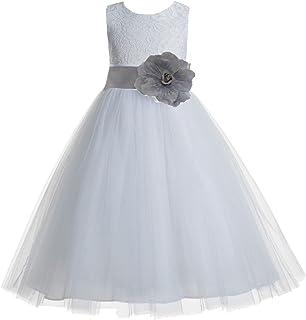 cfc125672d1 ekidsbridal Floral Lace Heart Cutout White Flower Girl Dresses First  Communion Dress Baptism Dresses 172T