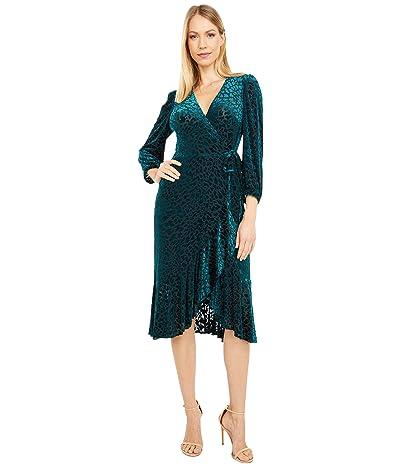 Calvin Klein Animal Print Velvet Burnout Dress (Malachite) Women
