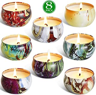 HELLY Scented Candles Gift Sets, Natural Soy Wax 2.5 Oz Unit Portable Travel Tin Perfect for Women Anniversary - 8 Pack
