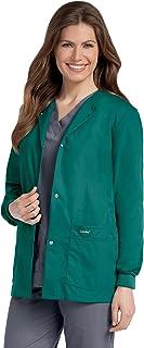 Landau Women's Premium Snap-Front 4-Pocket Crew Neck Warm-Up Scrub Jacket