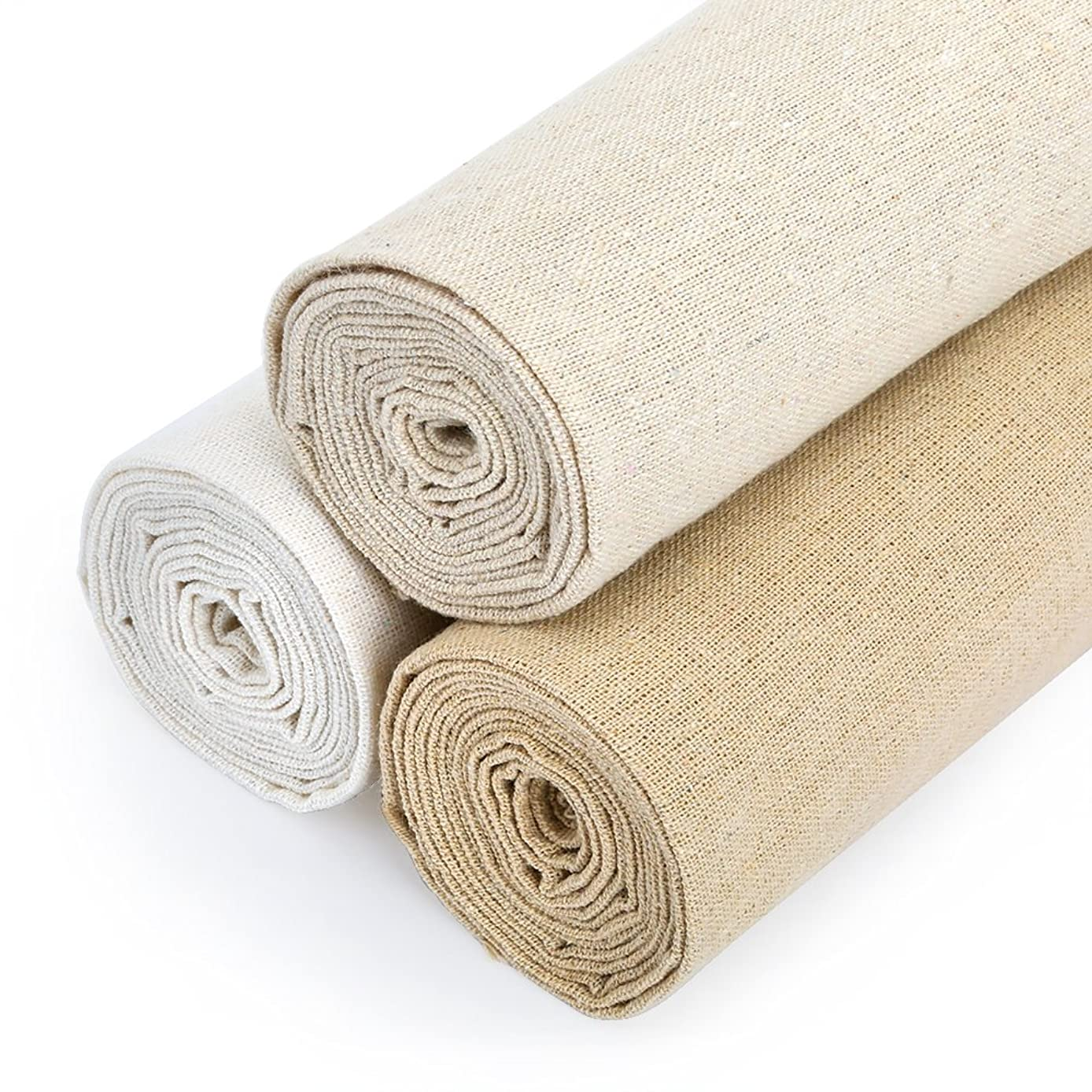 Caydo 3 Pieces 3 Colors Linen Needlework Fabric for Garment Craft, 62 by 19 Inch