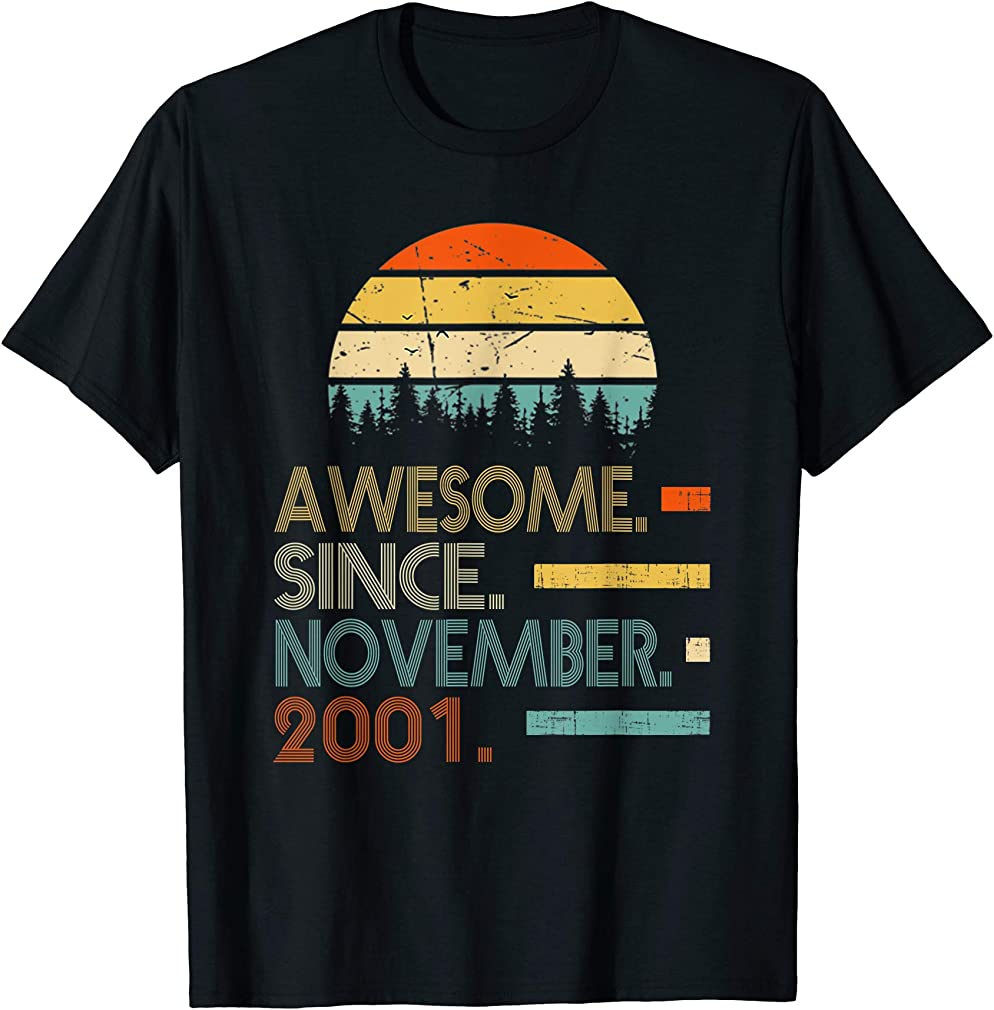 Awesome Since November 2001 18th Birthday Gift 18 Yrs Old T-shirt
