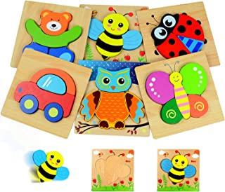 Kulariworld 6 Pieces Wooden Jigsaw Puzzles Shapes Toys for Toddlers Boys Girls 1 2 3 Years Old Preschool Educational Gift with Vibrant Color 5 Animal and 1 vehicle Pattern