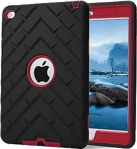 iPad Mini 4 Case, iPad A1538/A1550 Case, Hocase Rugged Shockproof Anti-Slip Hybrid Hard Shell+Silicone Rubber Bumper Protective Case for Apple iPad Mini 4th Generation 2015 - Black/Red