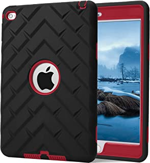 iPad Mini 4 Case, iPad A1538/A1550 Case, Hocase Rugged Shockproof Anti-Slip Hybrid Hard Shell+Silicone Rubber Bumper Protective Case for Apple iPad Mini 4th Generation 2015 - Black/Red