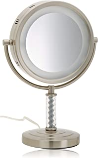 Jerdon HL856MNC 8-Inch Tabletop Two-Sided Swivel Halo Lighted Vanity Mirror with 6x Magnification, 14-Inch Height, Matte Nickel Finish