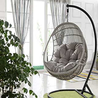 Swing Hanging Basket Seat Cushion, Thicken Hanging Egg Hammock Chair Pads Waterproof Chair Seat Cushioning for Patio Garden (Color : Gray, Size : 90x120cm(35x47inch))