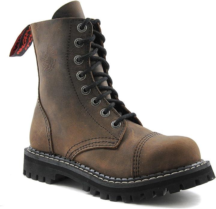 Anfibi stivali militari unisex uomo donna pelle marrone vintage 8 buchi army punk punta di ferro AI08/VBL/LE