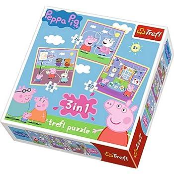 Trefl 34813 - Puzzle 3-in-1, Peppa Pig, Spielen in der Schule