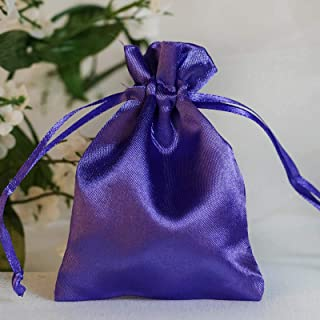Efavormart 60PCS Purple Satin Gift Bag Drawstring Pouch Wedding Favors Bridal Shower Candy Jewelry Bags - 3
