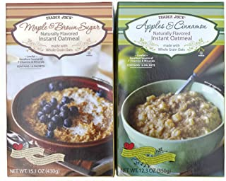 Trader Joe's Naturally Flavored Instant Oatmeal (Variety Pack of 2): Maple & Brown Sugar and Apples & Cinnamon