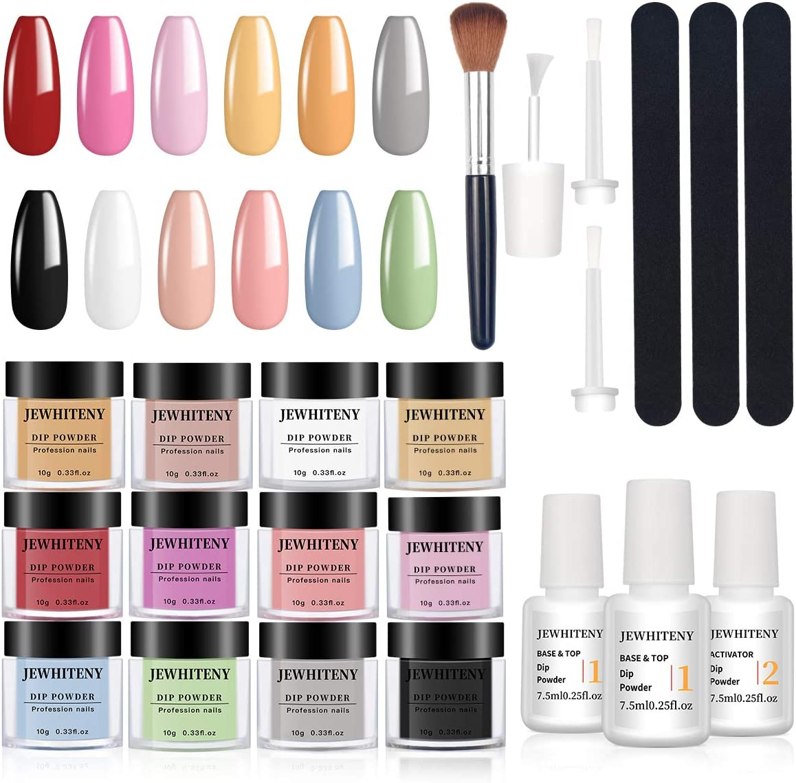 Nail Dip Powder Kit for Starter with 12 Color, Acrylic Dip Nails Powder Starter Kit Include 2 in 1 Base& Top Coat and Activator, No Lamp Needed Quick Do Nail Portable Kit