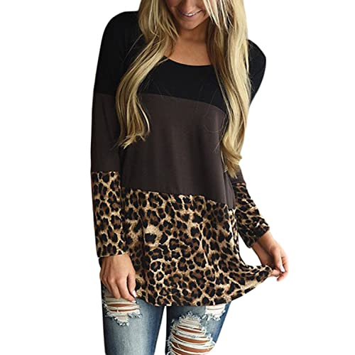 d3856adab4b HOTAPEI Womens Back Lace Color Block Tunic Tops Casual Long Sleeve T-Shirts  Blouses with