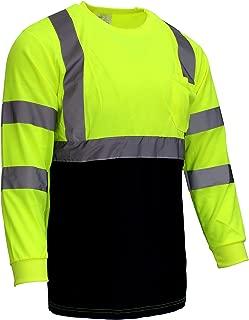 NY BFL8712 High-Visibility Class 3 T Shirt with Moisture Wicking Mesh Birdseye, Black Bottom (Medium, Green)