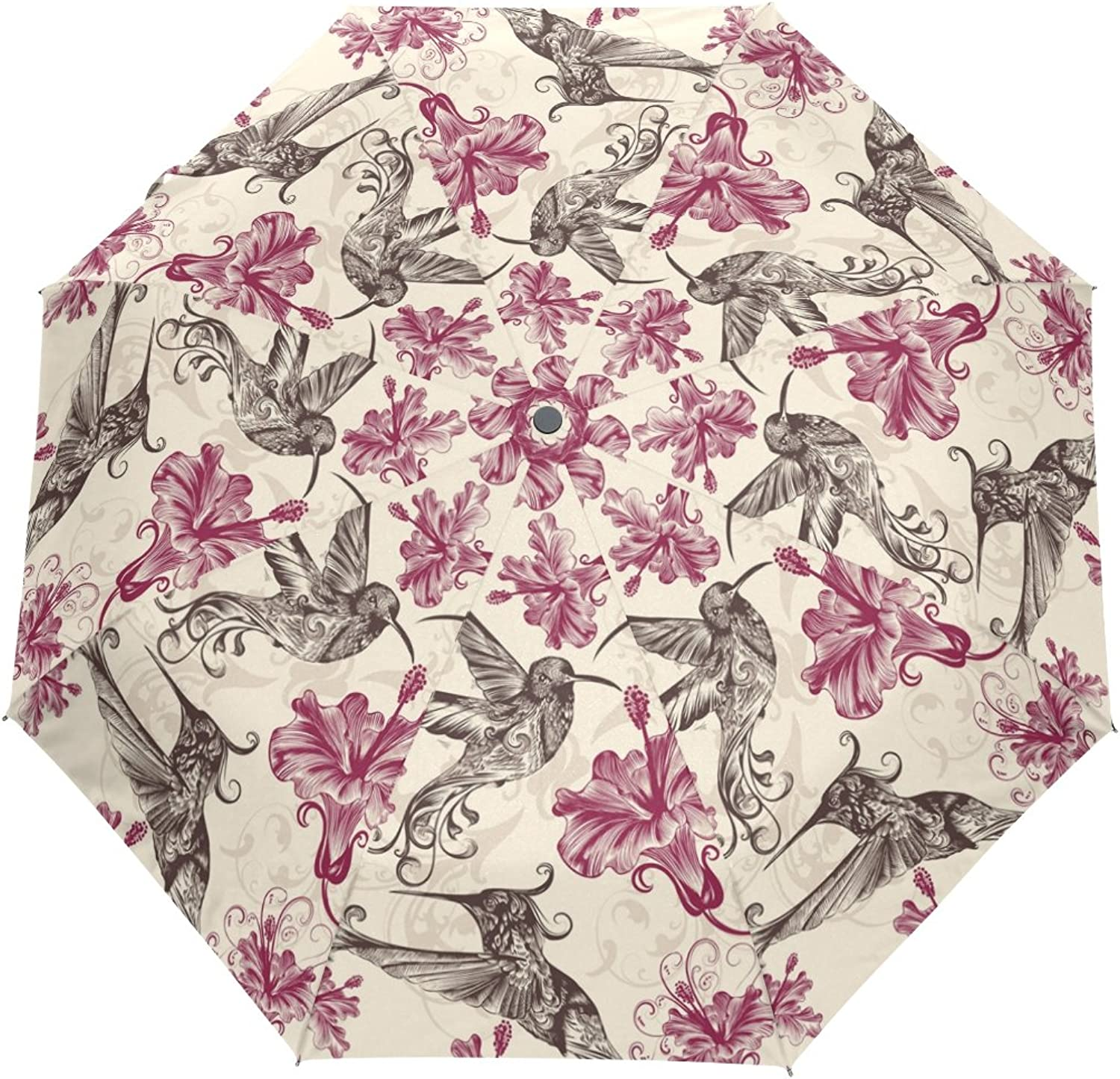 MASSIKOA Hummingbirds and Flowers Umbrella Double Sided Canopy Auto Open Close Foldable Travel Rain Umbrellas