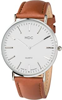 MDC Mens Minimalist Ultra Thin Dress Casual Watch Genuine Leather Strap Slim Classic Formal Quartz Wrist Watches for Men