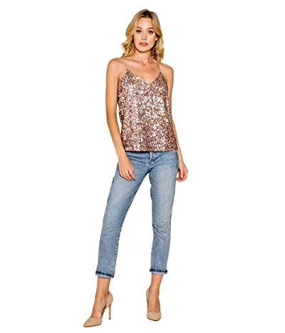 LAVENDER BROWN Stretch Sequin Cami with Adjustable Strap (Candy Multi) Women