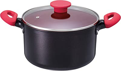 ベストコ 両手鍋 深型 22cm レッド デリシャスサイン IH対応 シチューポット ふっ素樹脂加工 適温が目で分かる ND-3394