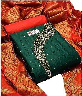 Varni Fab Salwar Suit Dress Material Cotton Khatli Handwork With Banarasi Jacquard Dupatta For Women And Girls (RADHE KRIS...