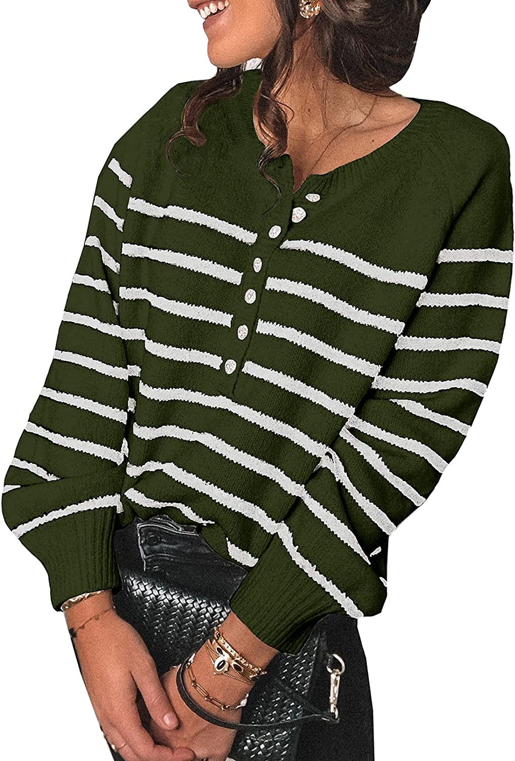 Dokotoo Womens Turtleneck Button Long Sleeve Pullovers Sweaters Loose Knit Jumpers Tops