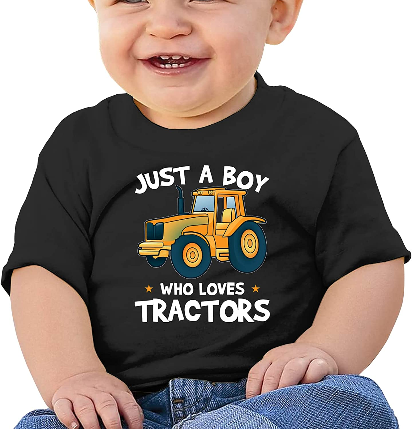 Just A Boy Who Loves Tractors Baby T-Shirts Novelty for Youth Tees with Cool Designs