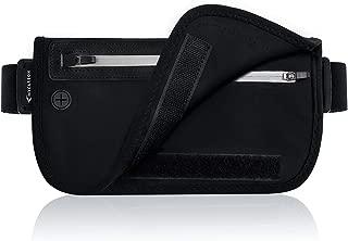 MYCARBON セキュリティポーチ ブロッキング 折りたたみ式【超薄型 LYCRA生地 RFID スキミング予防対策】旅行 ウエストポーチ ウエストバッグ ランニングベルト パスポートケース 防犯グッズ アウトドア 旅行用品 貴重品入れ 盗難対策 iPhone 7 Plus /6S Plus収納可 軽量 ブラック
