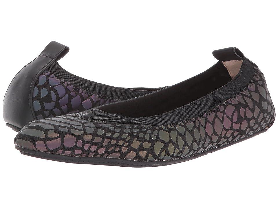 Yosi Samra Kids Sammie Reflective Croco Neoprene Leather Flat (Toddler/Little Kid/Big Kid) (Black) Girls Shoes