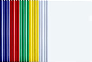 TecUnite 20 Pieces A4 Sliding Bar Binder Transparent Report Covers Folder for Documents Classification (Multicolored Sliding Bar)