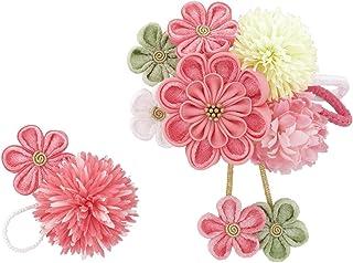 (ソウビエン) 髪飾り 成人式 卒業式 2点セット ピンク 白 桜 さくら 梅 うめ ピンポンマム 花 ビーズ 丸ぐけ紐 縮緬 ちりめん コーム Uピン 髪留め ヘアアクセサリー 卒業式 日本製
