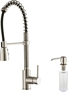 Kraus KPF-1612-KSD-30SS Single Lever Pull Down Kitchen Faucet Stainless Steel Finish and Soap Dispenser