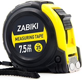 Zabiki Measuring Tape Measure, 25 Ft Retractable Dual Side Ruler with Metric and Inches, with Magnetic Hook and Rubber Protective Casing
