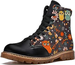 LORVIES Dessin Animé Mignon Animal Forêt Hiboux Floral Bottes d'hiver Chaussures Montantes en Toile à Lacets pour Hommes