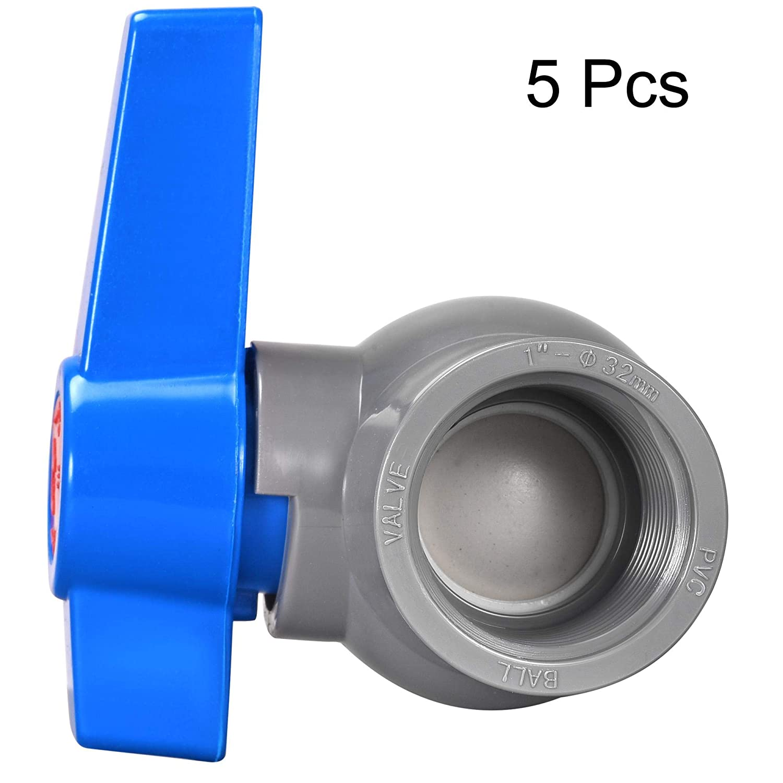 Pool Garden Sprinkler Gray Blue 5Pcs G1 Female Thread PVC Valve for Aquarium Setup Sump Pump sourcing map Ball Valve