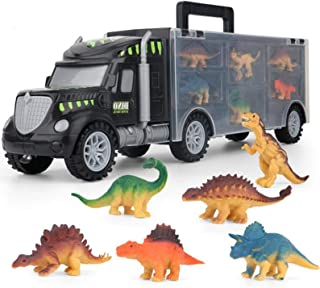 AM ANNA Dinosaur Truck Carrier – 6 Toy Dinosaurs Playset with a Dinosaur Car World – Dinosaur Toys Set for Toddler with Mo...