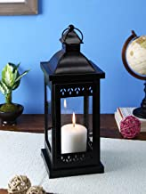 Hosley Decorative Iron Lantern with Pillar Candle (13.97 cm x 13.97 cm x 35.56 cm, Black)