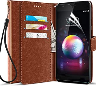 Axiay LG K30 Case/LG K10 2018 Cases, LG Harmony 2/Premier Pro LTE/Phoenix Plus Wallet Case w Screen Protector,Kickstand Flip Folio Card Slot PC+TPU Shockproof Leather Case for LG Xpression Plus,Brown