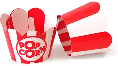 Popcorn Cupcake Wrappers - Red and White Striped - Cute Circus Party Supplies and Carnival Decorations - Movie Night ...