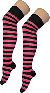 CRAZY CHICK, Crazy Chick - Calcetines para mujer, diseño de rayas en la rodilla, elásticos, para niñas, color negro y rosa