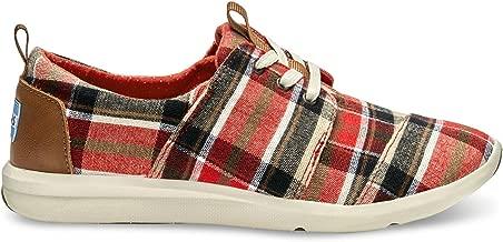 TOMS Women's Del Rey Sneaker Red/Warm Tan Plaid Sneaker 5.5 B (M)