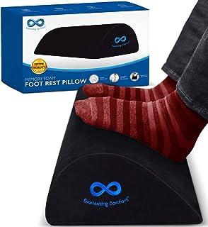 Everlasting Comfort 100% Memory Foam Foot Rest for Under Desk, Orthopedic Teardrop Curve, Non-Slip Bottom