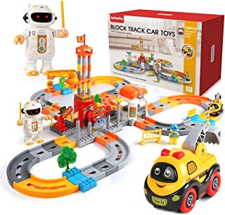 Beebeerun Train Set130 Piece Car Track Toys Construction Track Set with Cartoon Car and Wireless Robots for Kids Toddlers Gift