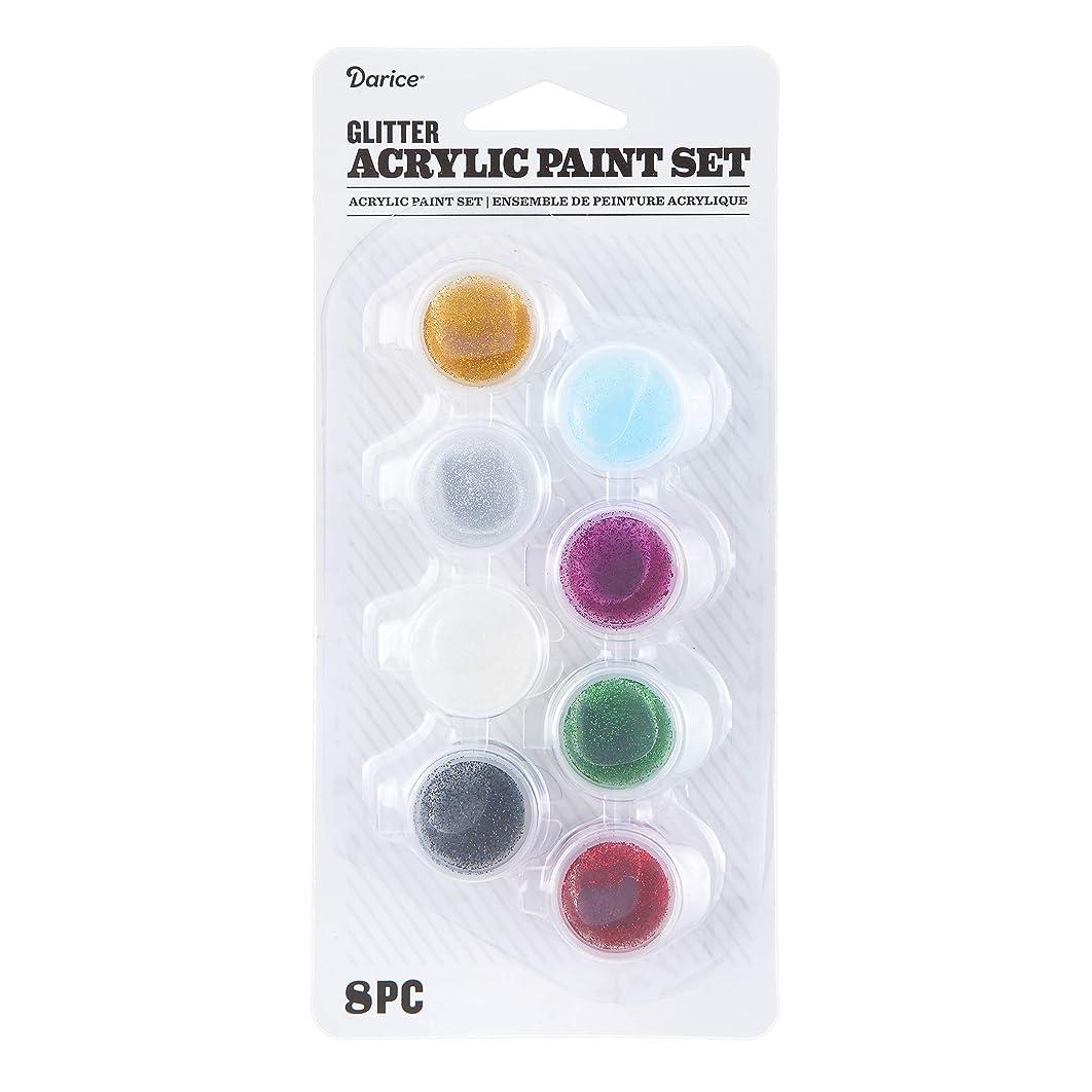 Darice 30074339 Acrylic Paint Pot Set: Glitter, 8 Colors, Multicolor