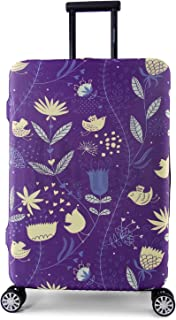 Periea Elasticated Suitcase Luggage Cover - 13 Different Designs - Small, Medium or Large (Purple with Yellow Birds, Medium)