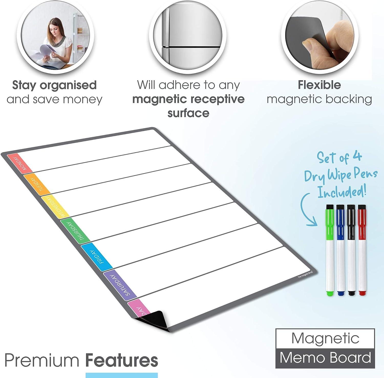 4 Stifte , A3 mit gratis Stift komplett anpassbares Whiteboard f/ür Familie//Gesch/äftsaufgaben und Mahlzeitenplanung The Magnet Shop Magnetischer Wochenplaner und Organizer Mehrfarbig