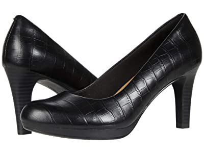 Clarks Adriel Viola (Black Croc Leather) High Heels